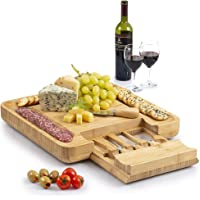 Zulay (Large) Bamboo Cheese Board and Knife Set - Extra Thick Bamboo Cheese Cutting Board with 4 Piece Knife Set…