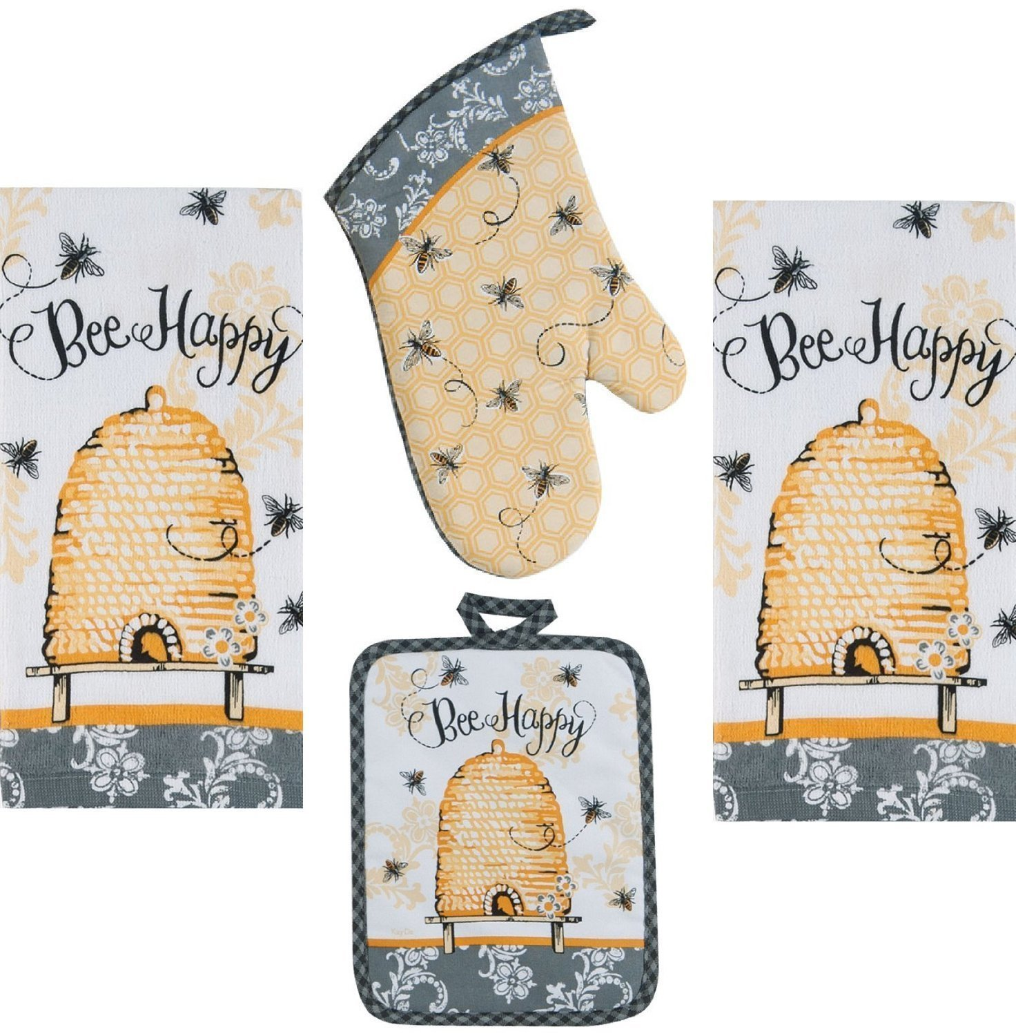 4 Piece Bee Happy Kitchen Set - 2 Terry Towels, Oven Mitt, Potholder