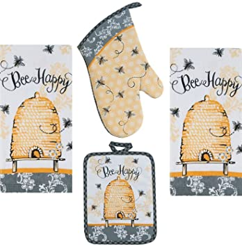 4 Piece Bee Happy Kitchen Set   2 Terry Towels, Oven Mitt, Potholder