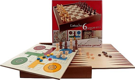 Aquamarine Games - 6 Juegos clásicos: ajedrez, Damas, Backgammon ...