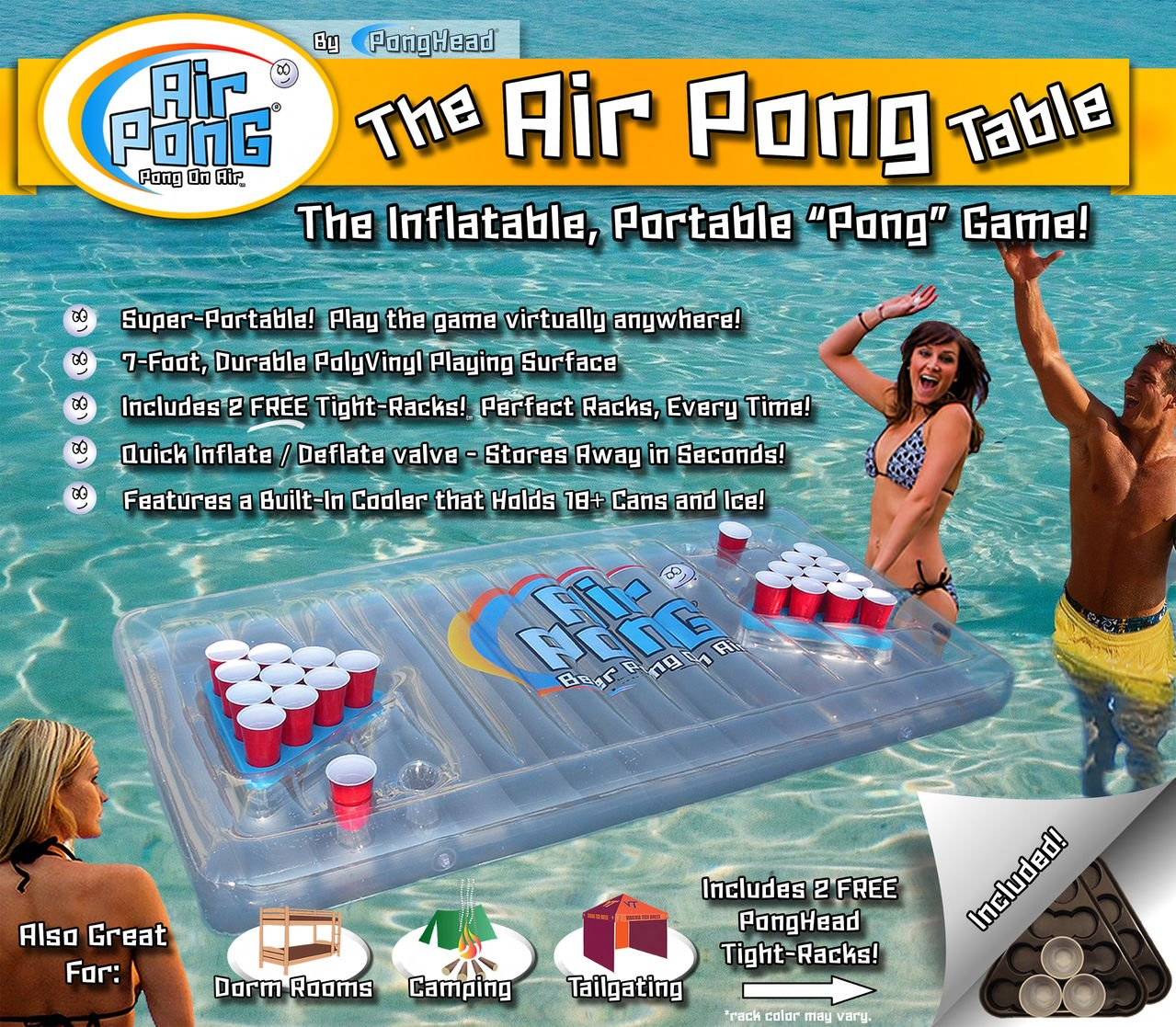 The Air Pong Table, Inflatable Beer Pong Cooler, Floating Beer Pong Table, 7ft, Vinyl, Lightweight, Portable, Comes with a Built-in Cooler and Free Plastic Racks, by PongHead