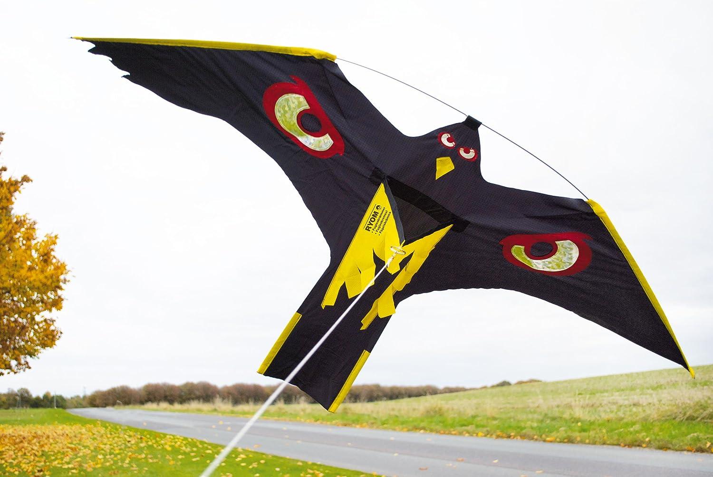 2 x Vogelscheuche Vogelschreck Raubvogel-Drache Habicht mit 1 x hochwertigem 7 Meter Glasfaser-Teleskopstab Spannweite 1,40 m