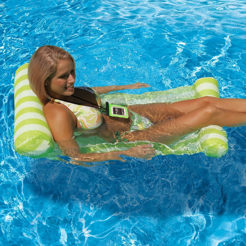 Topist Floating Hammock, Premium Inflatable Swimming Pool Float Bed Water Hammock with Universal Waterproof Case, Inflatable Swimming Pools Lounger, Ocean Lilo, Green by Topist