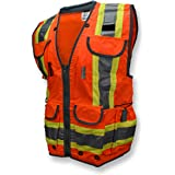 Radians SV55 Class 2 Heavy Woven Two Tone Engineer Vest with Padded Neck to Support Extra Weight in Cargo Pockets, Hi…