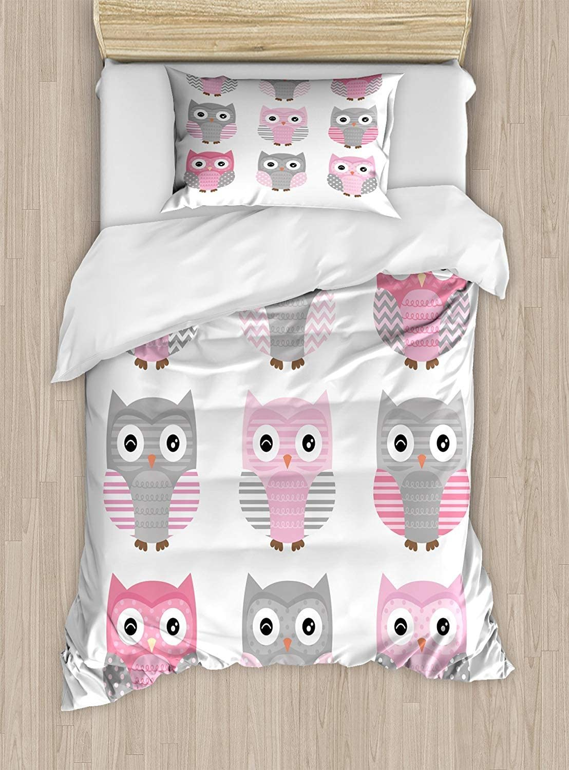 Twin XL Extra Long Bedding Set,Pink and Grey Duvet Cover Set,Cute Owl Figures Nocturnal Exotic Mystic Forest Night Animals Illustration,Decorative 2 Piece Bedding Set with 1 Pillow Sham,Blush Grey