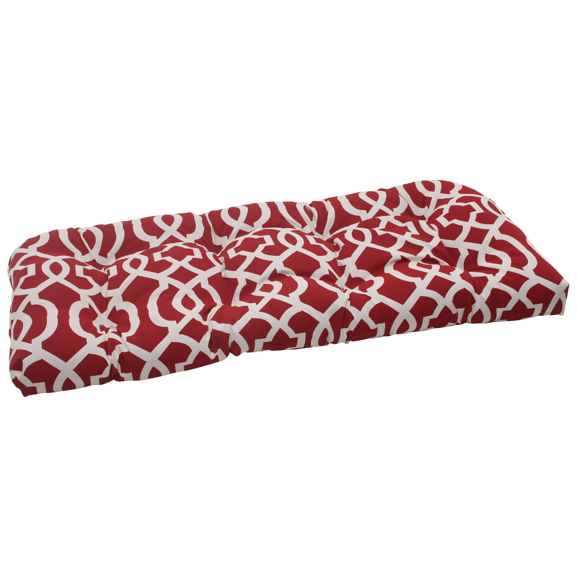 Pillow Perfect Outdoor New Geo Wicker Loveseat Cushion, Red