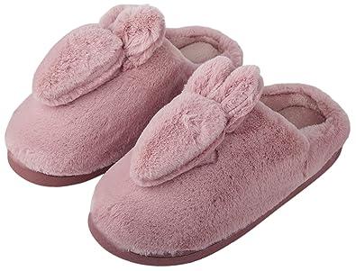 2f10e5d688d Irsoe Women & Girls Winter House Slippers Cartoon Rabbit House Shoes ...