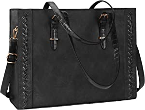 Laptop Bag for Women Waterproof Lightweight 15.6 Inch Leather Laptop Tote Bag Large Women Briefcase Professional Business Office Computer Work Bags Shoulder Handbag Black