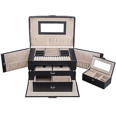 TRESKO® Caja para joyas joyero caja de joyas organizador de joyas, caja de relojes caja para relojes, con mini joyero para el bolso de mano, para el ...
