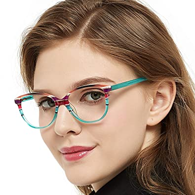 095f400244 OCCI CHIARI Fashion Oval Acetate Eyeglasses Frame With Clear Lenses (Blue  pattern