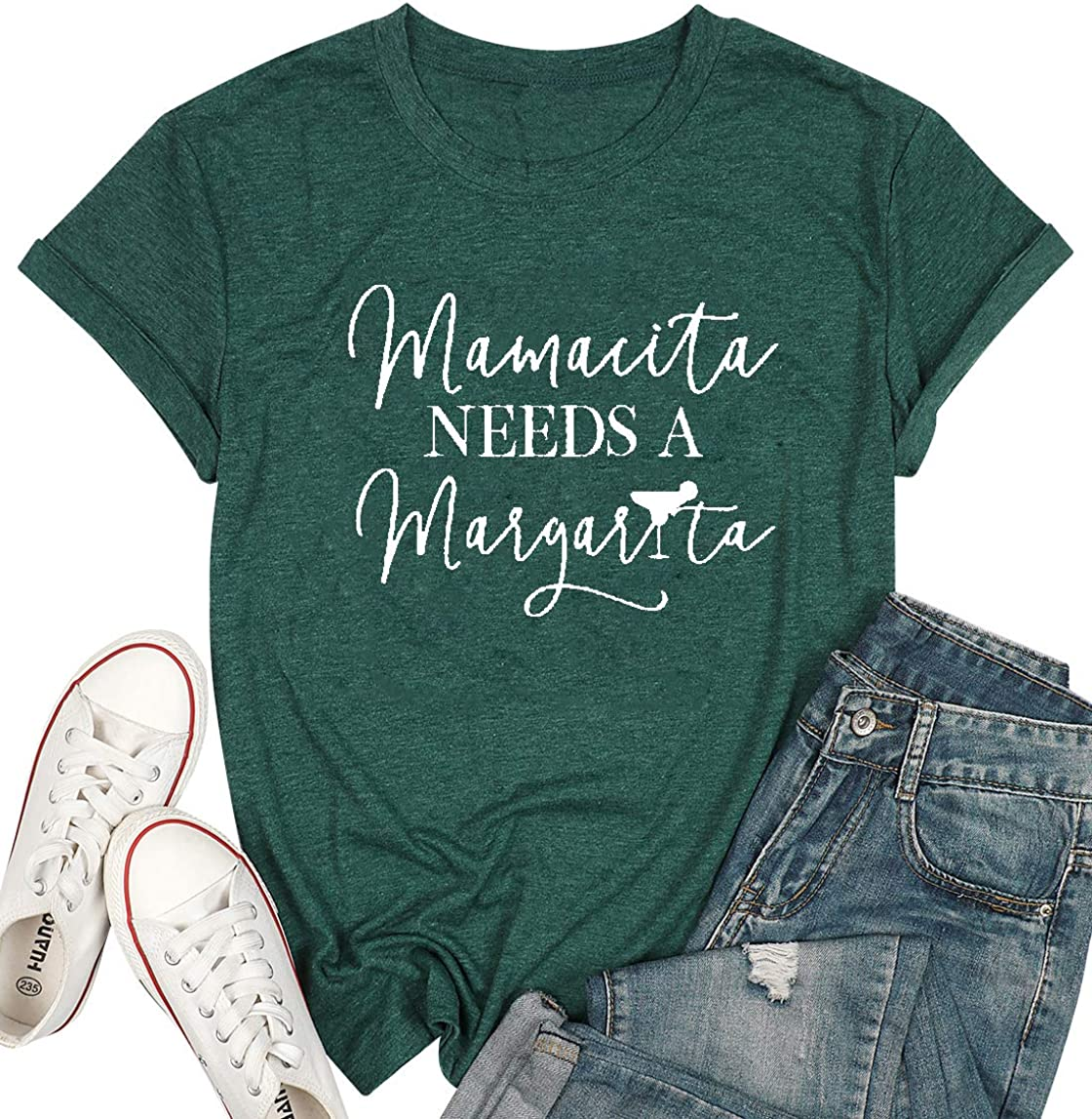 Mamacita Needs a Margarita T-Shirt Women Funny Letter Print Tees Mamacita Graphic Casual Top Shirt