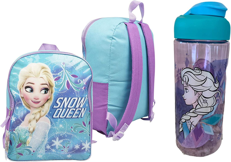 Disney Frozen Elsa Backpack 5 Piece Set Lunch Kit Water Bottle Case Book Bag New
