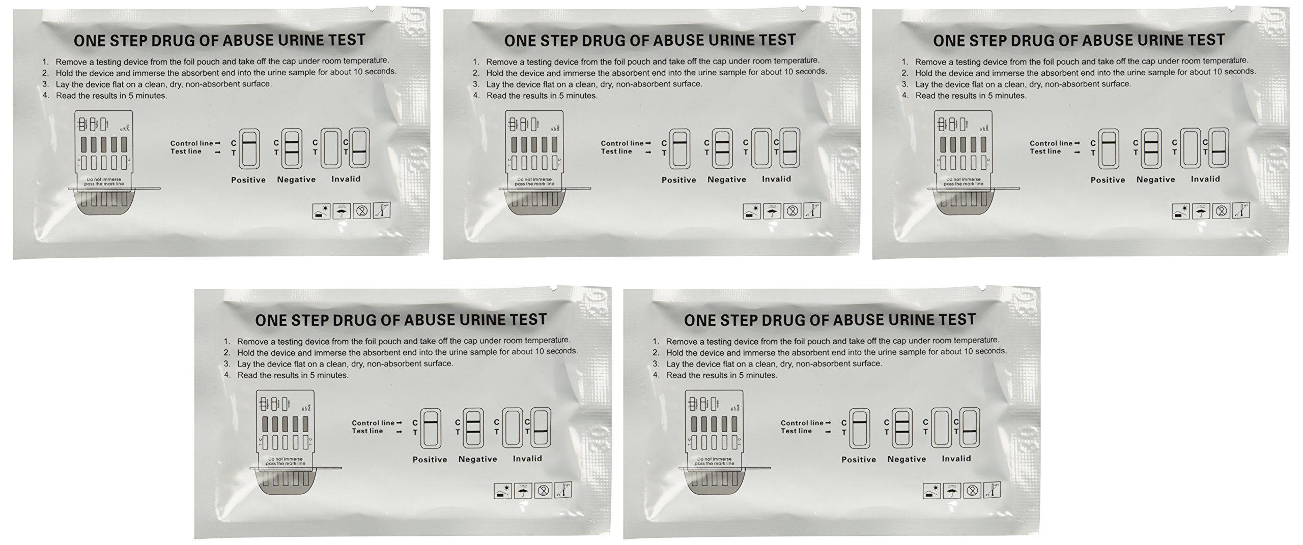 The Home Drug Test - 5 Individually Wrapped 6 Panel Multi Screen Urine Drug Tests - Each Test Screens For 6 Different Drug Types Including Cocaine / Crack, Heroin / Morphine, Marijuana, Meth, Amphetamine, Adderall, Benzos, Xanax