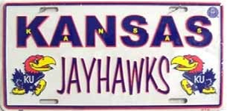 NCAA University of Kansas Jayhawks White 6 x 12 Embossed Aluminum License Plate