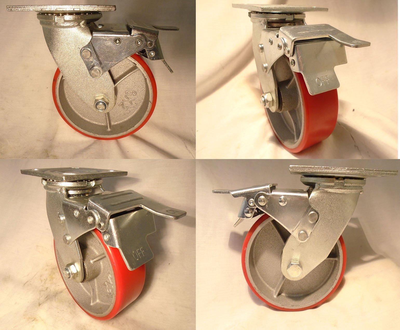6'' X 2'' Swivel Casters Heavy Duty Polyurethane Wheel on Steel Hub with Total Lock Brake 1200lb Ea (4) Tool Box