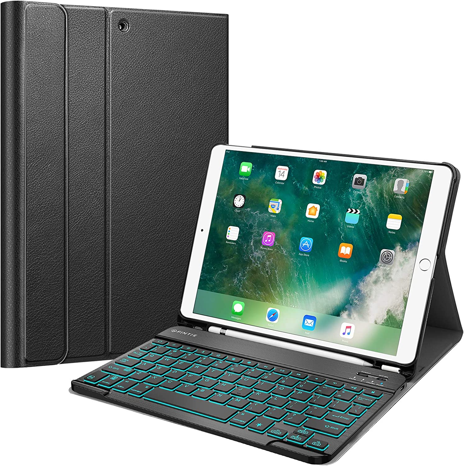 """Fintie Keyboard Case with Pencil Holder for iPad Air 3 10.5 2019/iPad Pro 10.5"""" 2017- SlimShell Stand Cover w/Magnetically Detachable [7 Color Backlight] Wireless Bluetooth Keyboard, Black"""