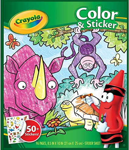 Amazon.com: Crayola Animal Coloring Pages And Stickers, 96 Pages, Gift For  Kids, Ages 3, 4, 5, 6: Toys & Games