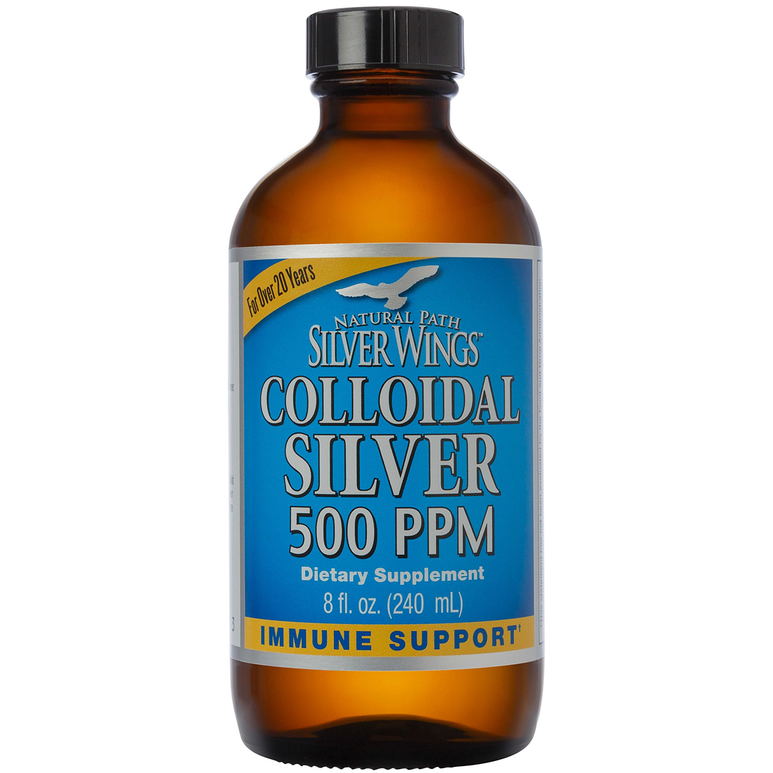 Natural Path Silver Wings - Colloidal Silver 500 ppm - Pure Mineral Supplement - Immune Support for Your Family - Powerful Healing without a Bad Taste (8 ounce,240ml)
