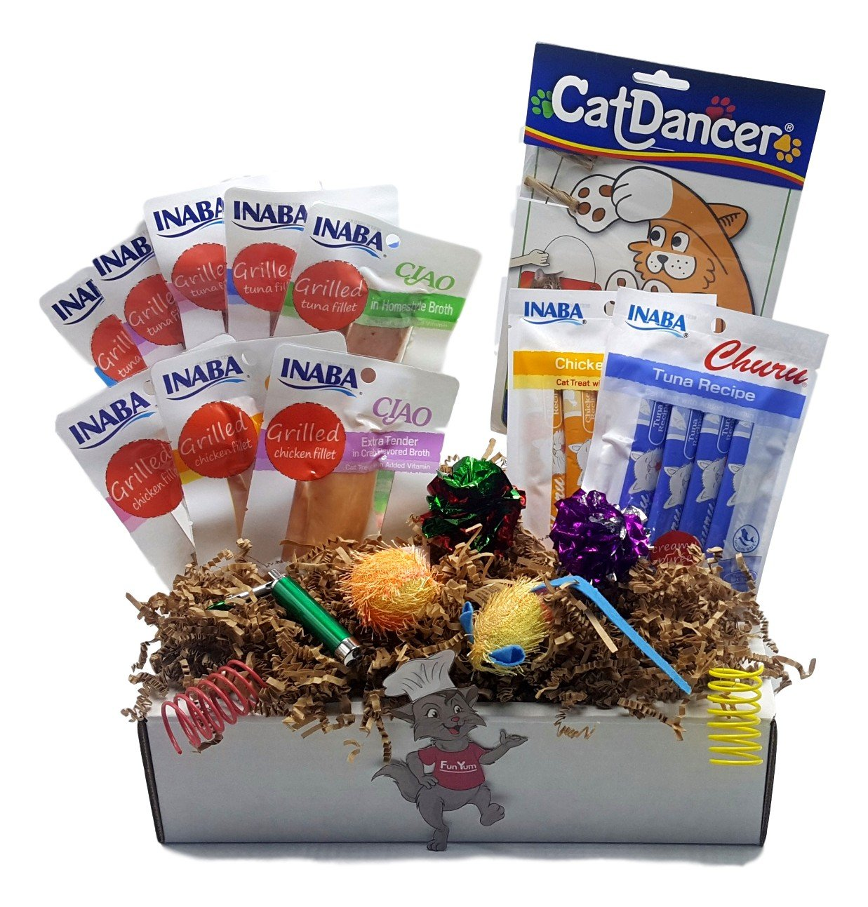 Fun Yum Cat Goodie Box with Cat Treats and Toys, 18-pack (Includes: 1 Stringy Mouse with Catnip, 2 Crinkle Balls, 2 Springs, 1 CatDancer, 3 Chicken and 5 Tuna Fillets plus more) 12″x9″x2.5″