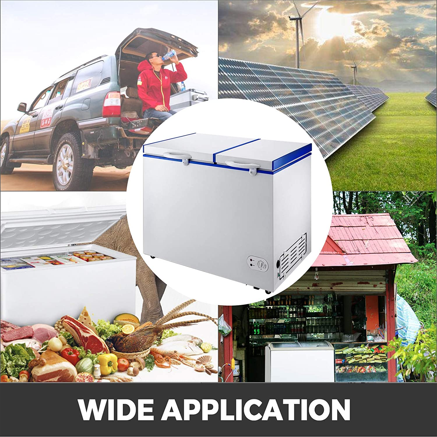 Compact Vehicle Electric Cooler Fridge,12V//24V DC With Lock for Car Home Camping Truck Party,-0.4℉-32℉ Suit for Solar Power VBENLEM Chest Freezer,245 Quart Commercial RV Deep Freezer,8.2 cu.ft