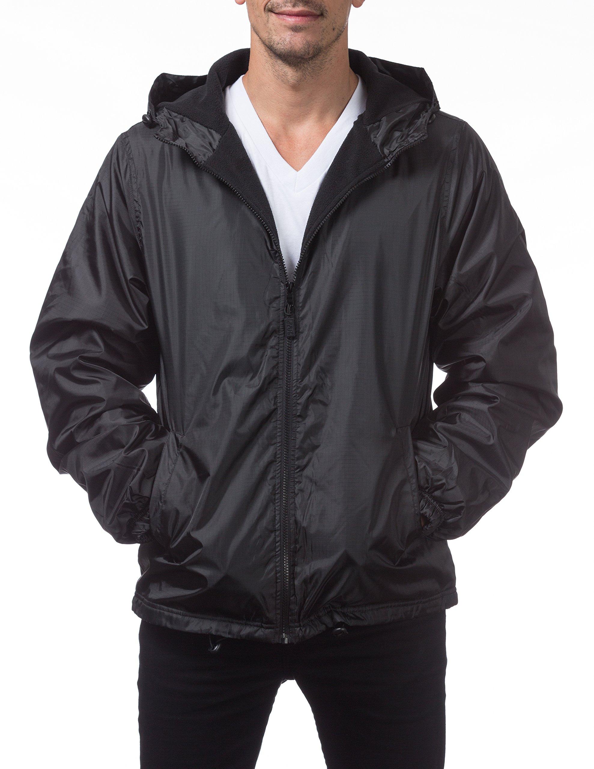 Pro Club Men's Fleece Lined Windbreaker Jacket, 2X-Large, Black