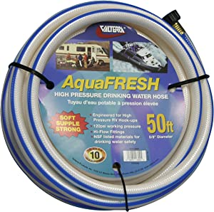 "Valterra W01-6600 AquaFresh High Pressure Drinking Water Hose - 5/8"" x 50', White"