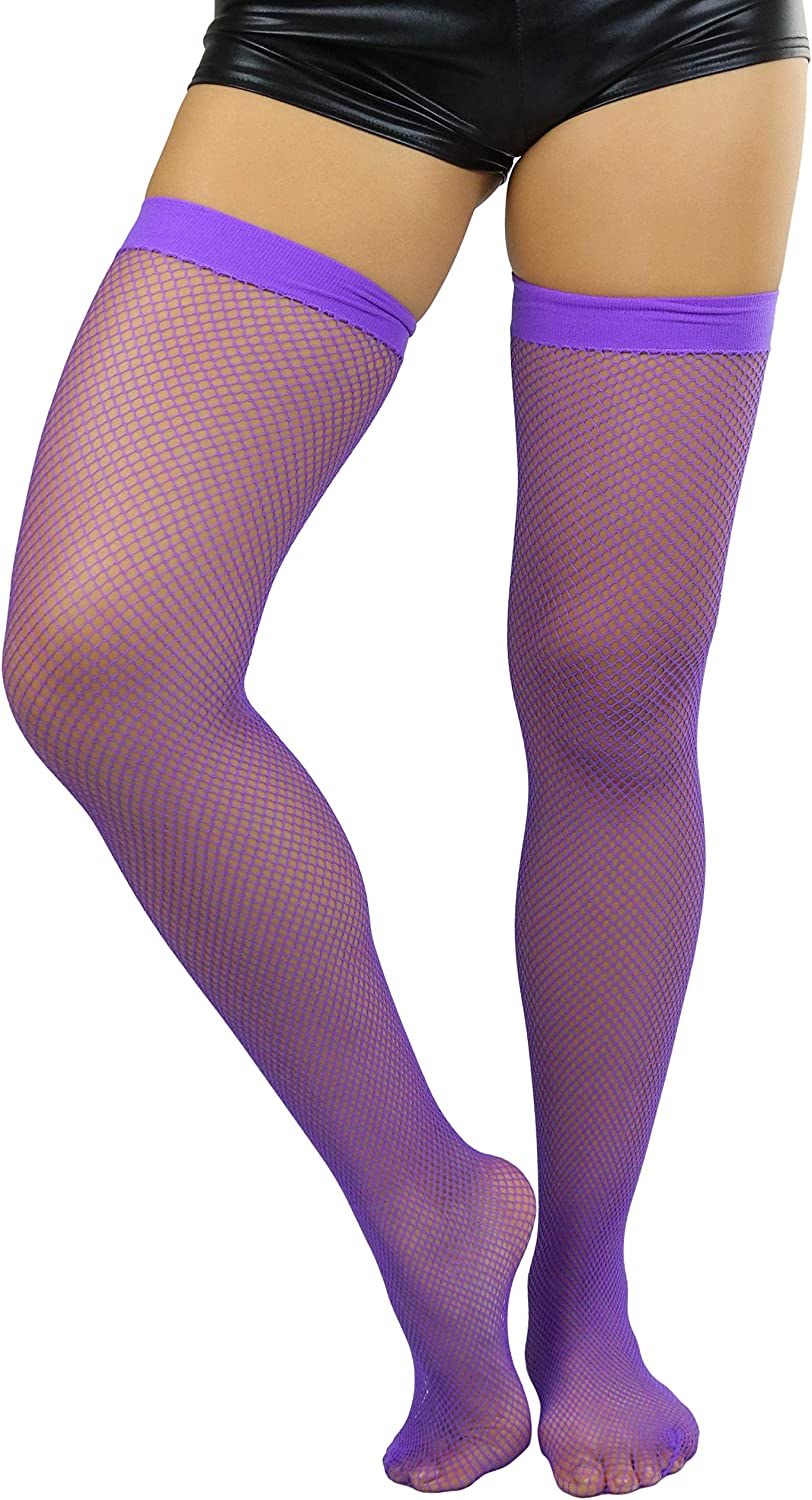 ToBeInStyle Women's Bright and Vibrant Fishnet Thigh High Stockings at  Women's Clothing store