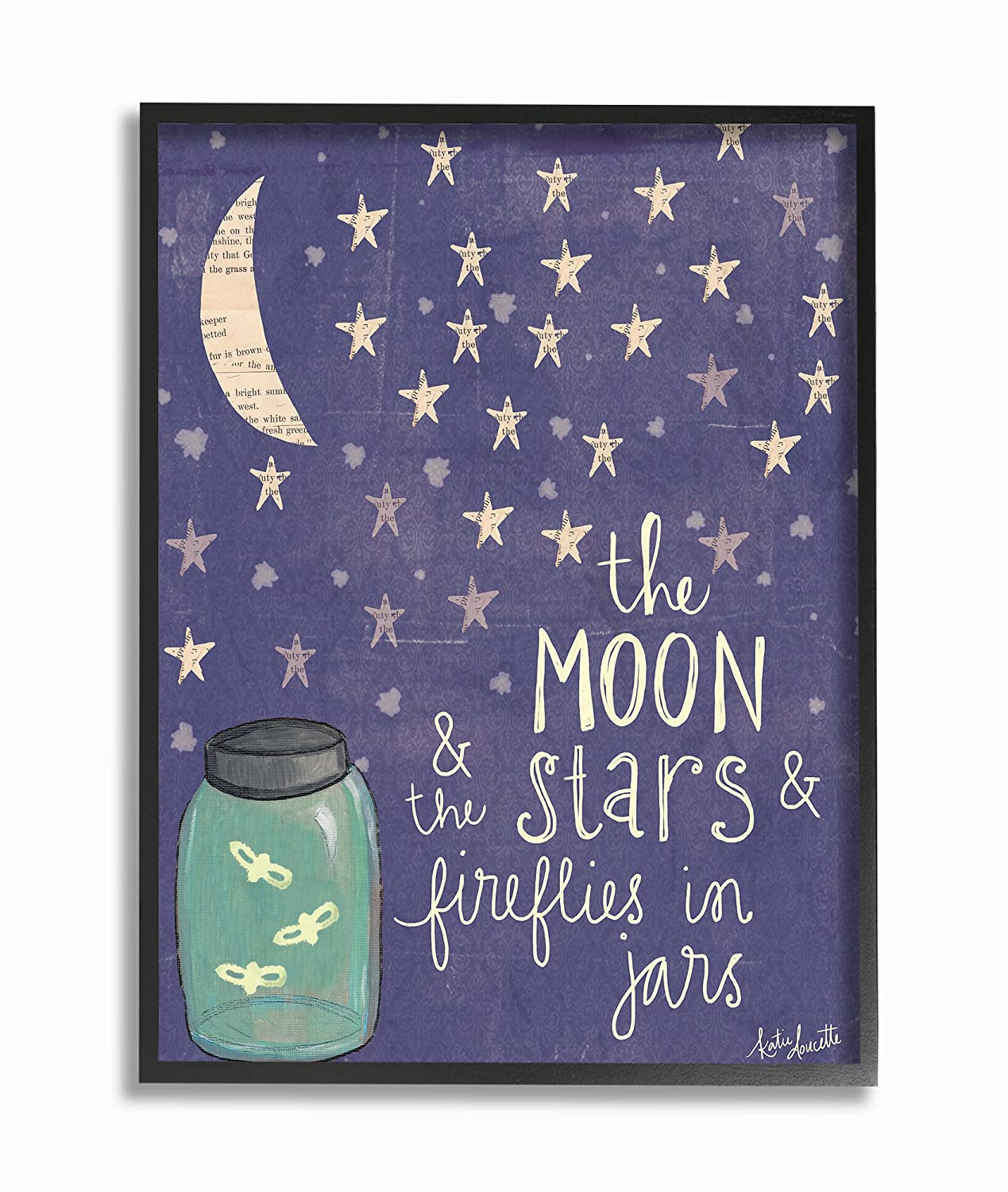 Stupell Industries Moon Stars Fireflies Wall Plaque Art 10 x 0.5 x 15 Proudly Made in USA