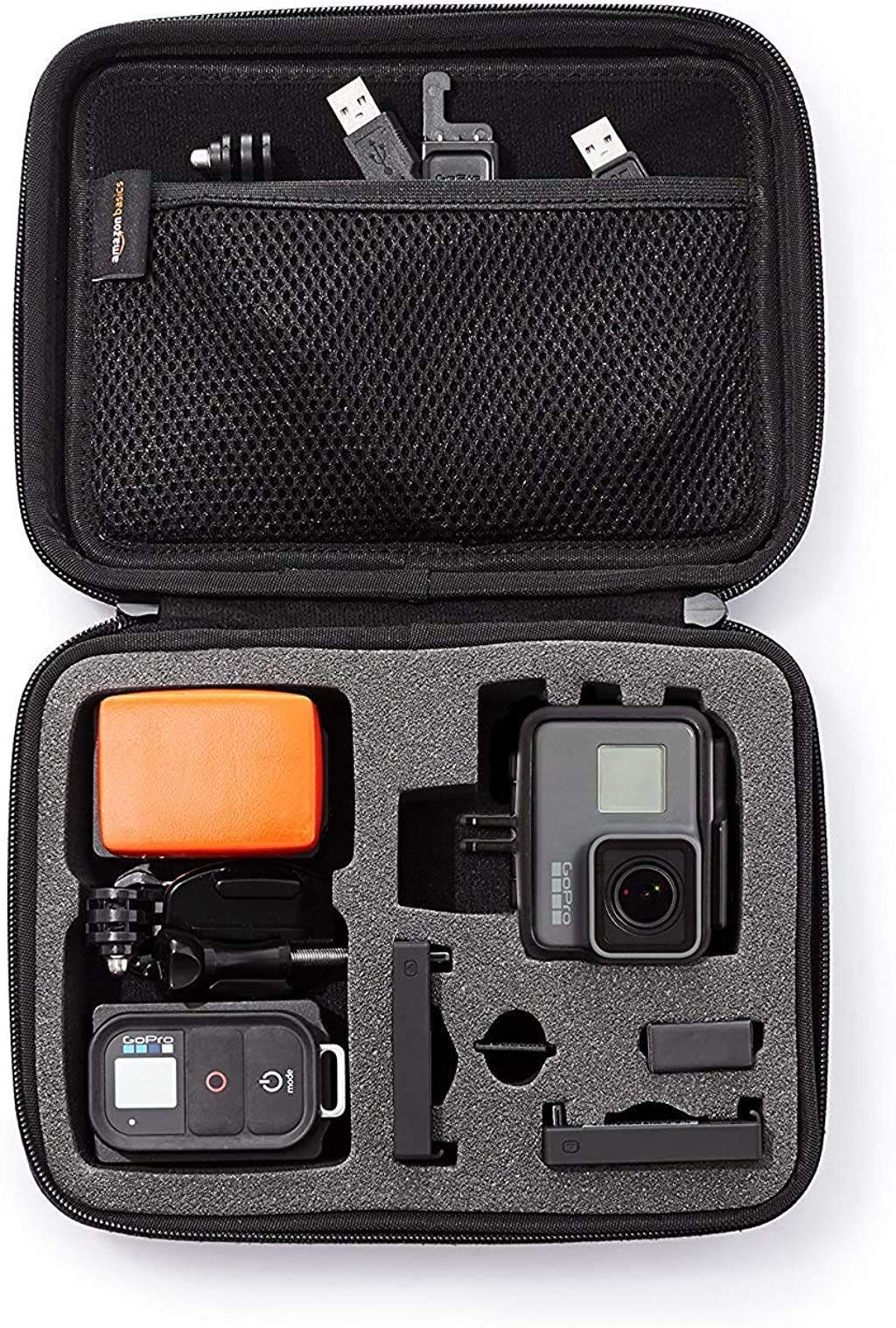 Amazon Basics Extra Small GoPro And Accessories Case - 6.5 x 5 x 2.5 Inches, Black