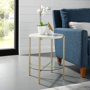 "WE Furniture AZF20SRDSTMGD Side Table 20"" Faux White Marble/Gold"
