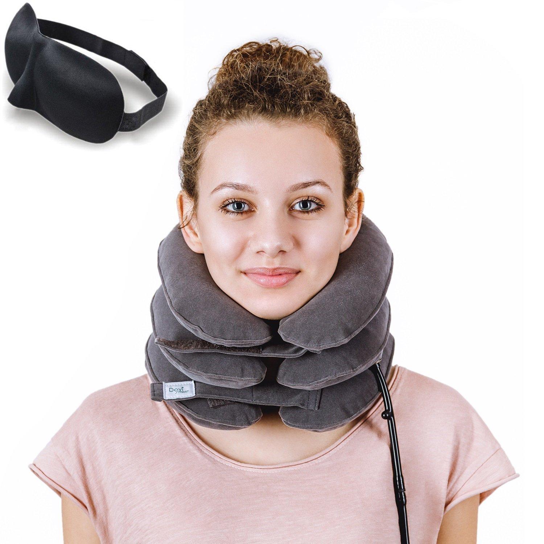DaviSMART Cervical Neck Traction ✮ Effective Neck Pain Remedy at Home ✮ Inflatable & Adjustable Neck Stretcher Collar Device + Eye Mask Bonus (Grey)