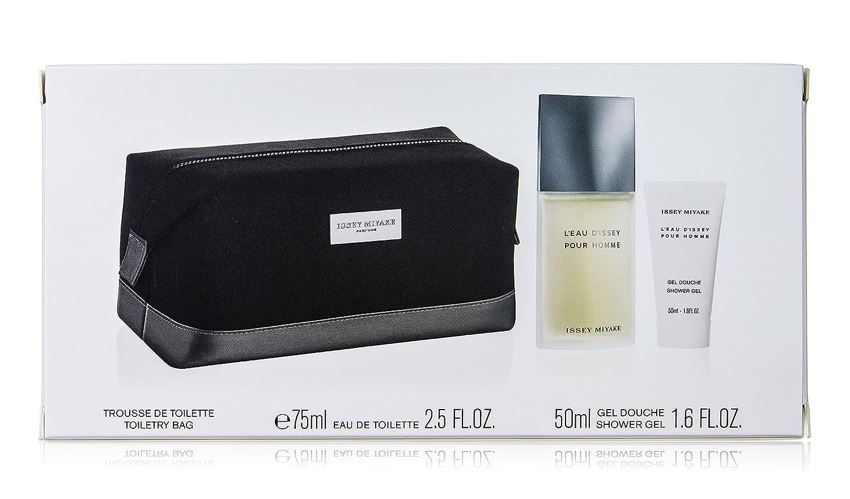 Issey Miyake l' eau d' Issey pour homme Gift set con Eau de Toilette spray 75ml e 50ml Gel doccia e trousse NIP140696
