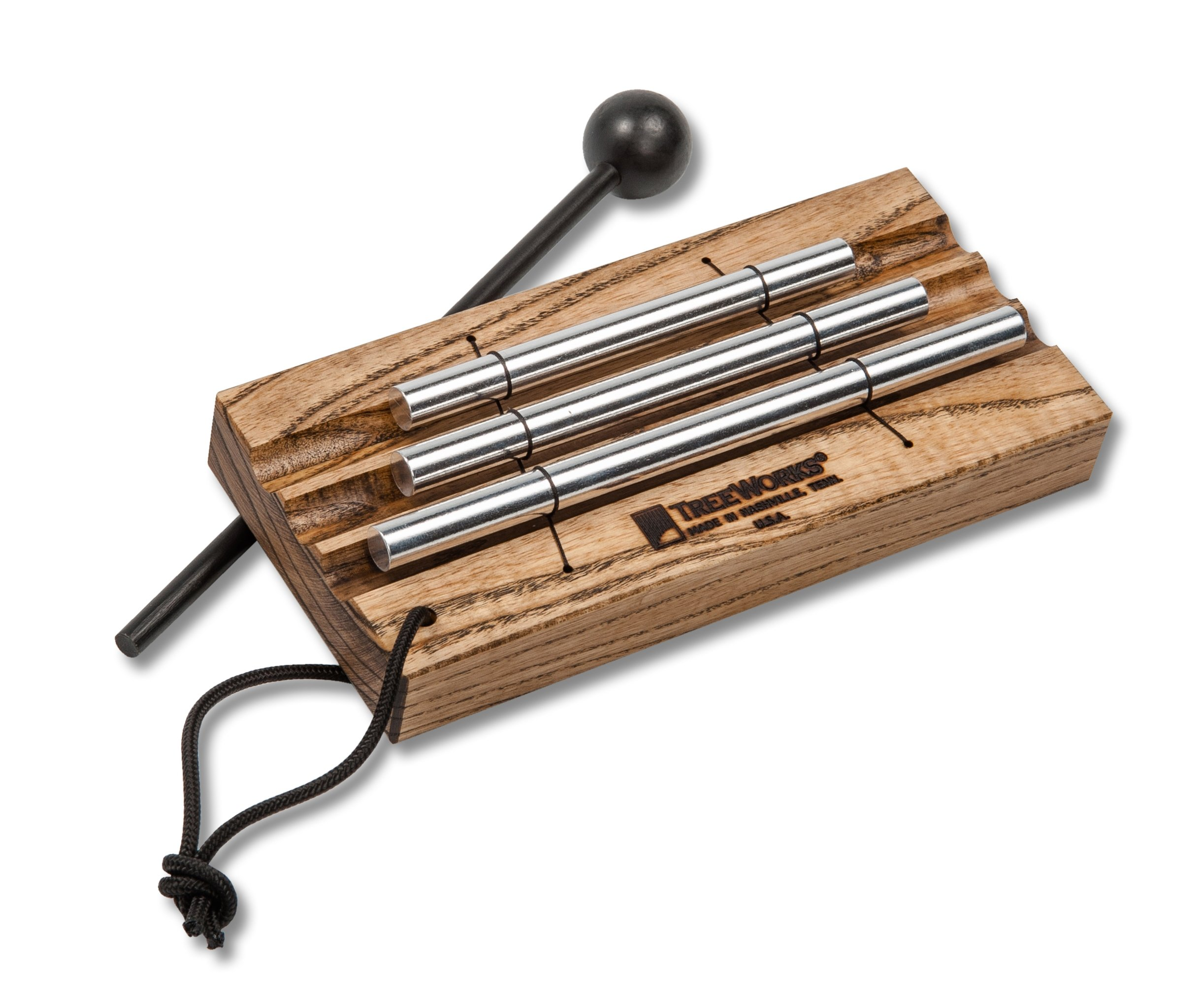 TreeWorks Chimes ((MADE IN U.S.A.) Three Tone Energy Chime for Meditation and Classroom Use includes Mallet and Cord Handle (VIDEO) (TRE420) by TreeWorks Chimes