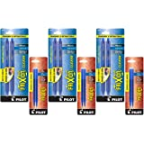 Pilot FriXion Clicker Retractable Erasable Gel Pens, Fine Point, Blue Ink, 6-Pack (31461) with 6 Blue Ink Refills