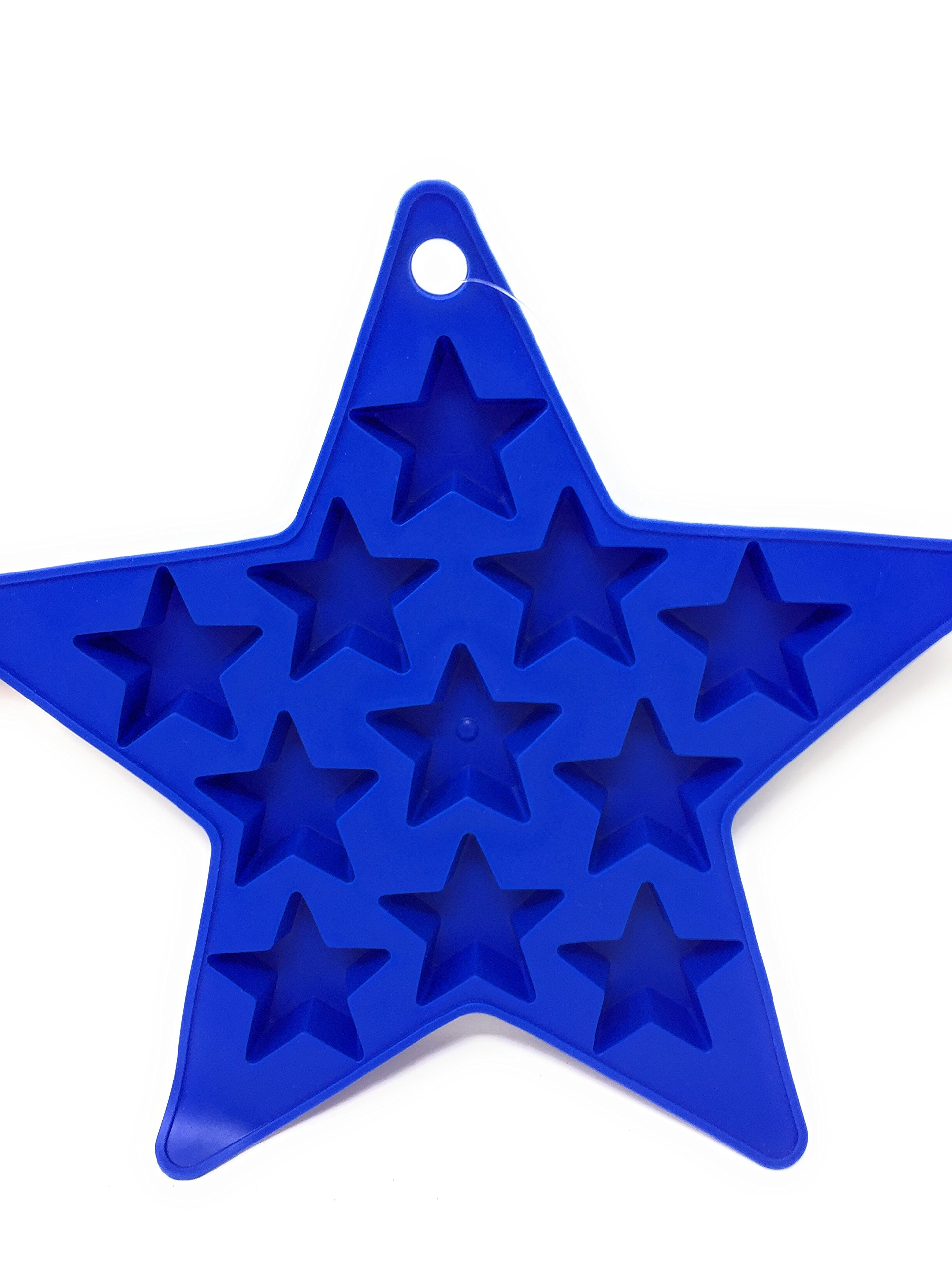 Patriotic Star Shaped Ice Cube Trays in Red and Blue (Set of 2) Makes 22 Star-Shaped Ice Cubes by Hobbeez (Image #3)