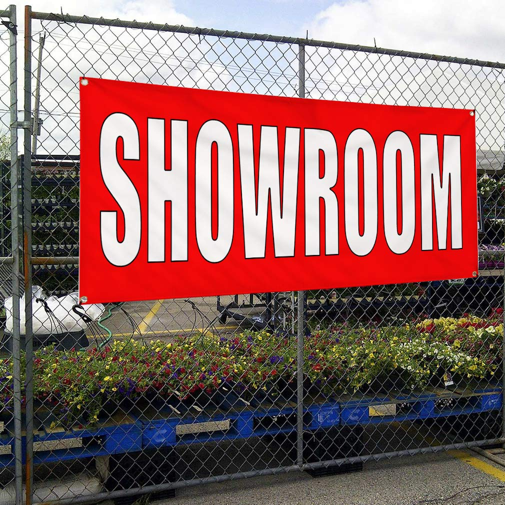 6 Grommets Multiple Sizes Available Set of 2 Vinyl Banner Sign Showroom red White Trade Shows Outdoor Marketing Advertising Red 32inx80in