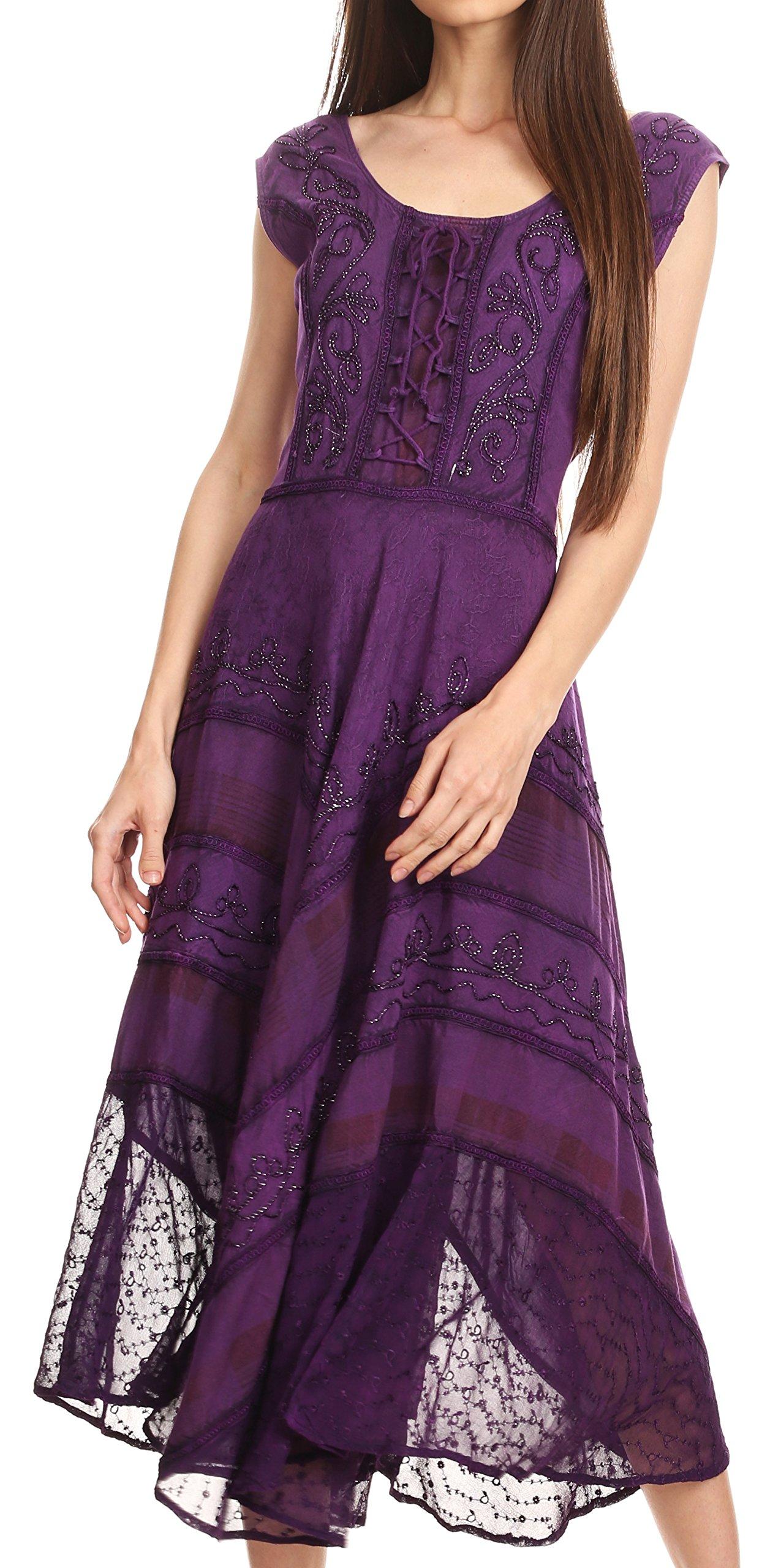 Sakkas 15322 - Azalea Stonewashed Rayon Embroidery Corset Style Dress - Purple - S/M