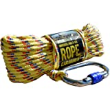 CactusBloom Rope and Locking Carabiner Clip – 65 feet / 20 Meters Strong Braided Cord for Boat Docking, Magnet Fishing…
