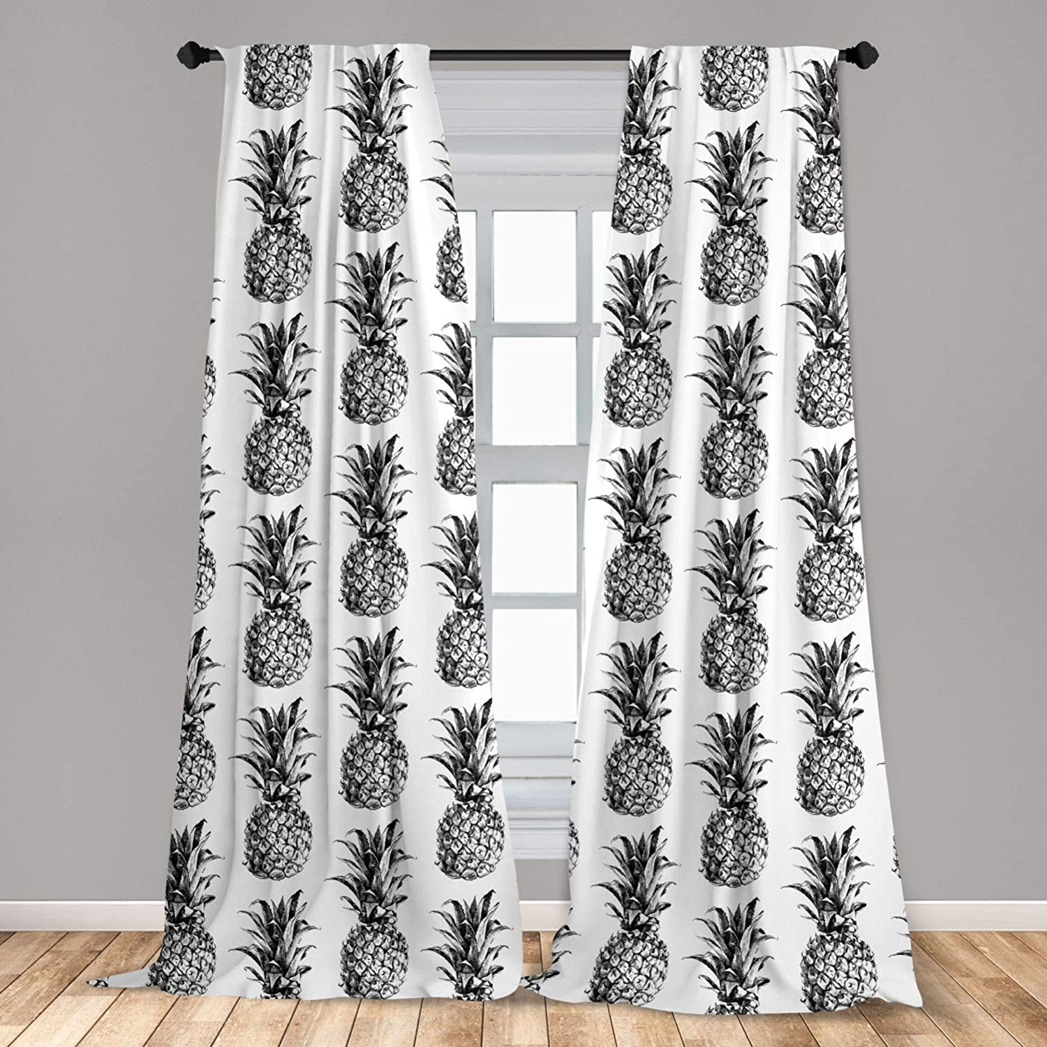"Ambesonne Pineapple Curtains 2 Panel Set, Hand Drawn Tropical Theme Vintage Style Pineapple Fruit Pattern, Lightweight Window Treatment Living Room Bedroom Decor, 56"" x 84"", Black Gray"