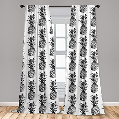 Ambesonne Pineapple Curtains 2 Panel Set Hand Drawn Tropical Theme Vintage Style Pineapple Fruit Pattern Lightweight Window Treatment Living Room Bedroom Decor 56 X 63 Black Gray Home Kitchen