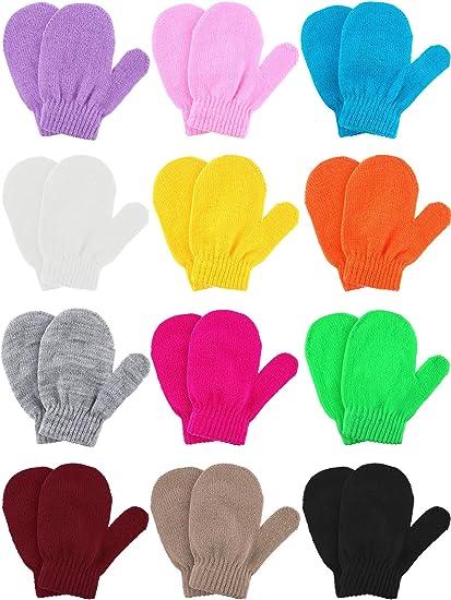 Kids Children Winter Warmer Knit Knitted Gloves Full Finger Stretchy Mittens