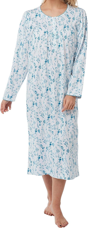 Camicia da notte da donna in puro cotone a maniche lunghe o corte in jersey