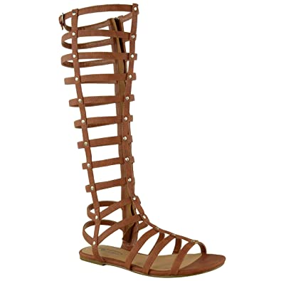 f4c210ce4 LADIES WOMENS CUT OUT GLADIATOR SANDALS FLAT KNEE BOOTS STRAPPY SIZE (UK 3