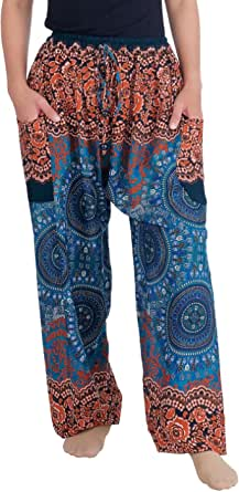 Lannaclothesdesign Women's Rose Drawstring Tassel Loose Fit Harem Style Pants
