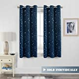 H.Versailtex Bright Stars Pattern Thermal Insulated Blackout Kids Room Curtain Panels with Antique Grommet Top, W40 x L63 inch-Set of 1 Panel