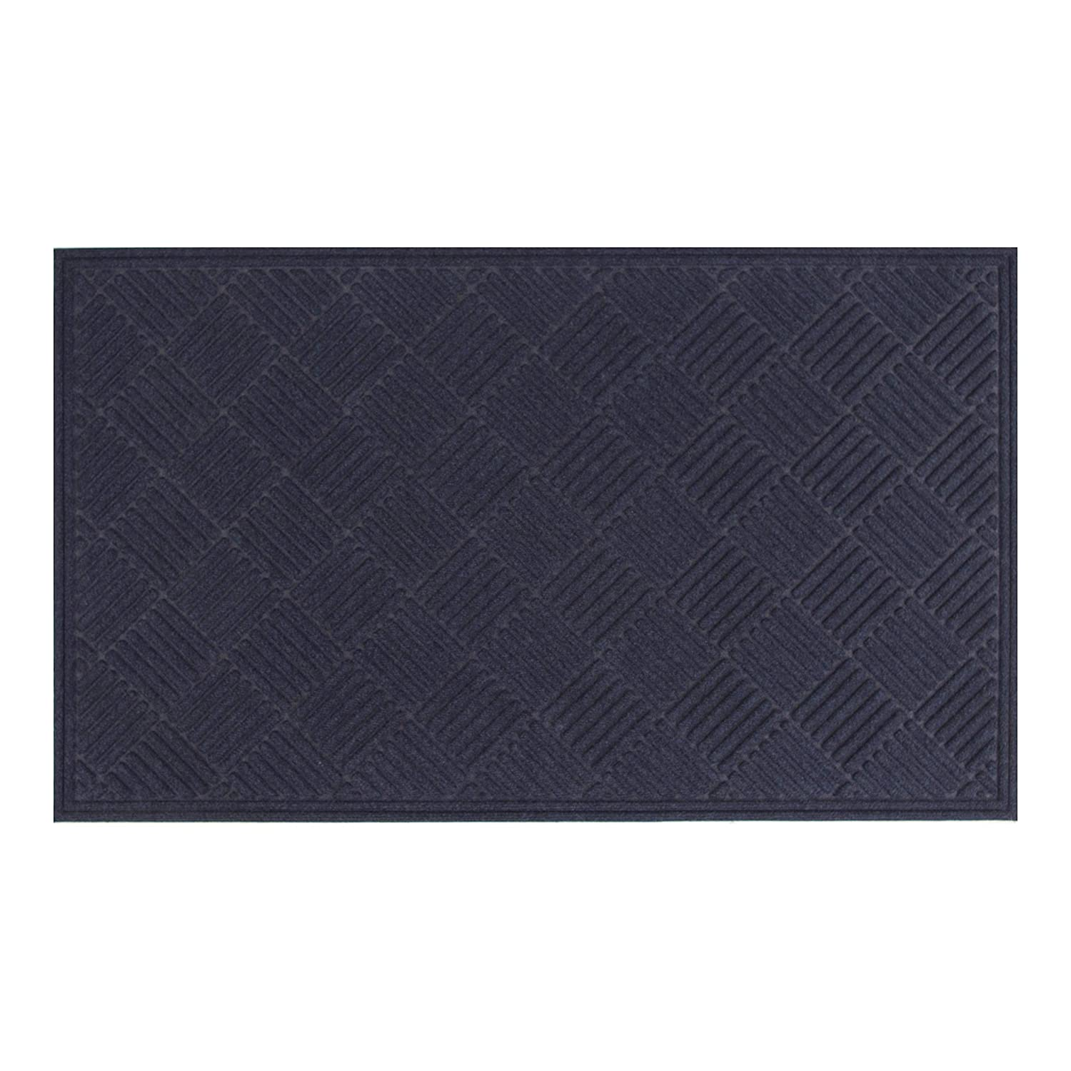 AmazonBasics Molded Carpet Recycled Rubber Commercial Scraper Entrance Mat Diamond Pattern 2x3 Blue