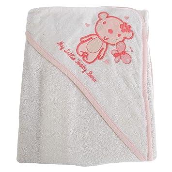Snuggle Baby - Toalla con Capucha Modelo My Little Teddy Bear para bebés (75 x 75 cm) (Blanco): Amazon.es: Hogar