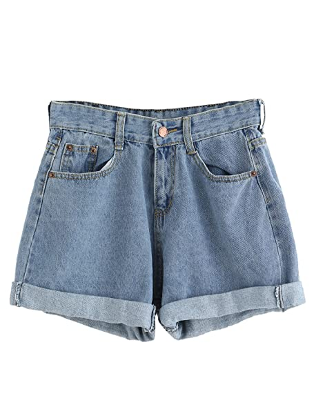 d9975bd3b2 SweatyRocks Women's Retro High Waisted Rolled Denim Jean Shorts with  Pockets (Small, Blue#