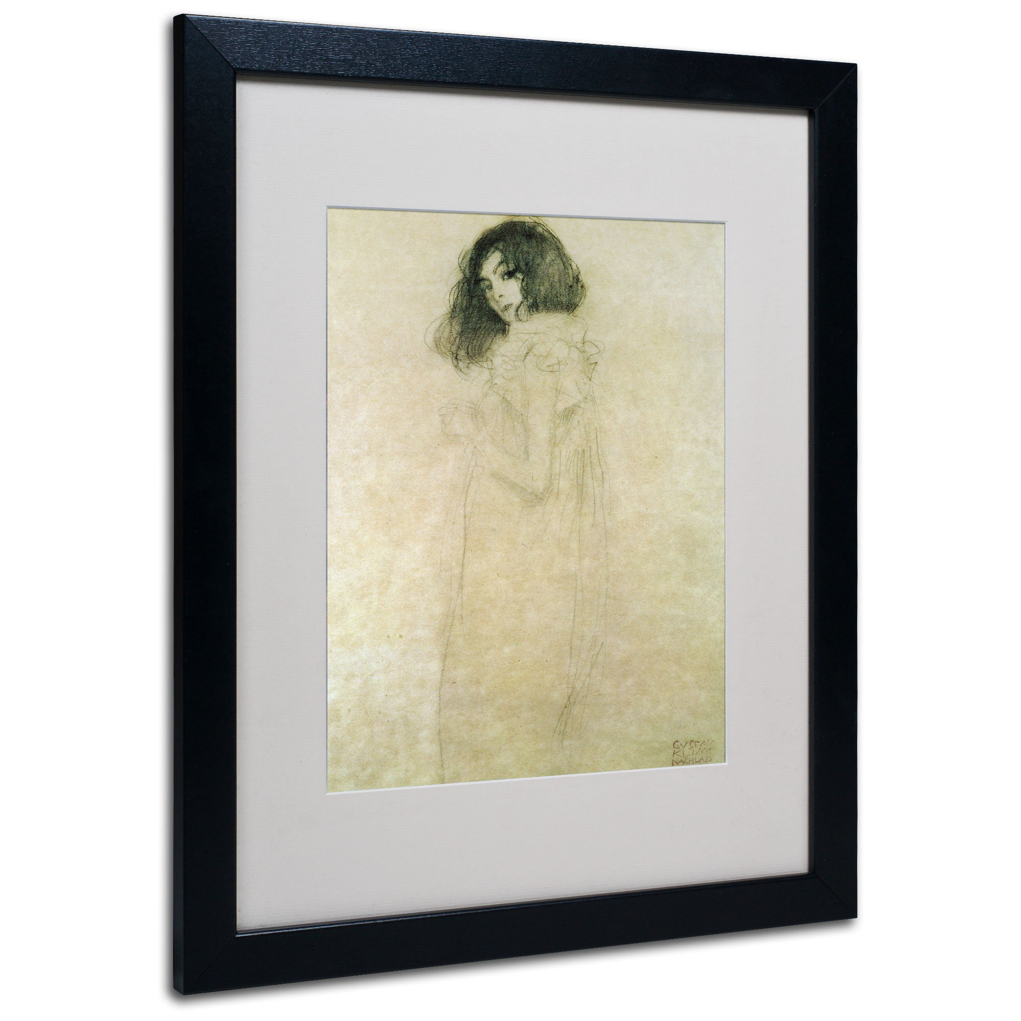 Trademark Fine Art Portrait of a Young Woman 1896-97 Artwork by Gustav Klimt in Black Frame, 16 by 20-Inch by Trademark Fine Art
