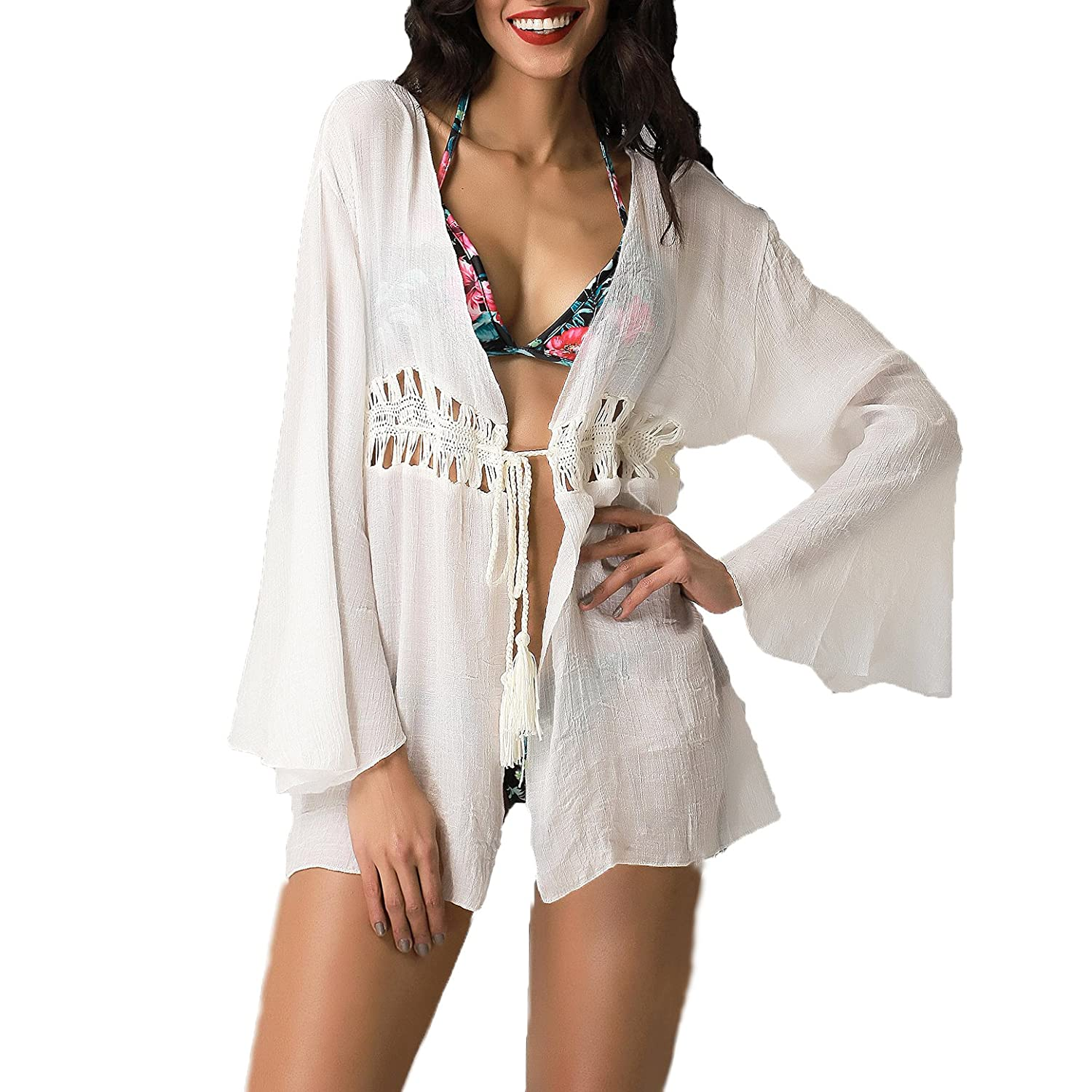 c1d6906a97 Blue Island Women's Tie Front Crochet Tunic Swim Cover, White at Amazon  Women's Clothing store: